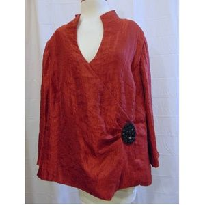 J R Nites evening top red black jewels Sz 22W